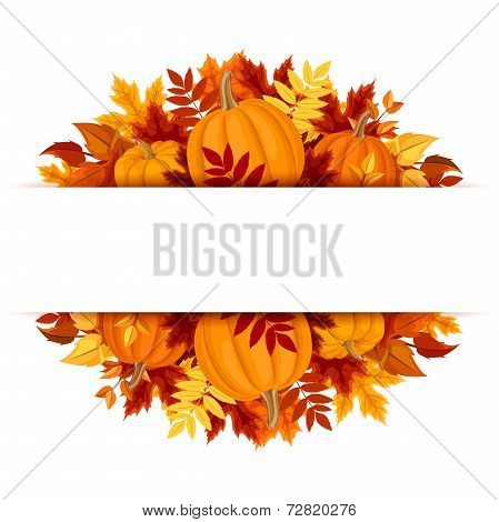 Banner with pumpkins and colorful autumn leaves. Vector eps-10.