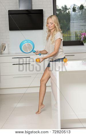 Joking House Wife Playing Tennis