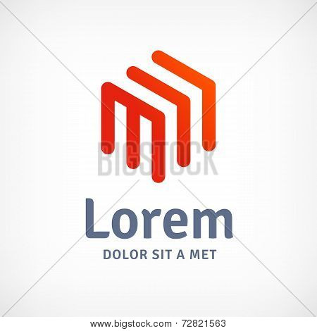 Abstract business logo icon with letter M