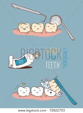 Comics about dental diagnostics and treatment.