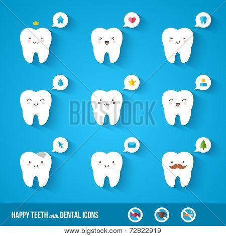 White teeth with flat dental icons.