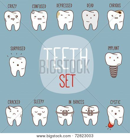 Teeth treatment set. Dental collection for your design with different teeth characters.