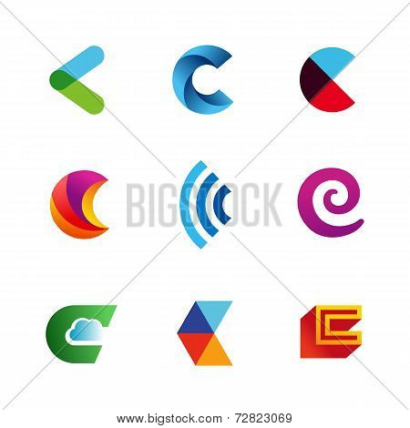Set of letter C logo icons