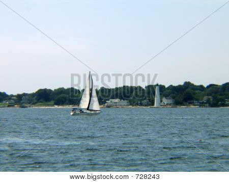 New London Lighthouse And Sailboat