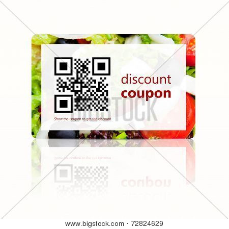 Food Discount Coupon With Qr Code Isolated Over White