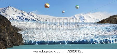 Hot Air Balloons Over Beautiful Glacier.