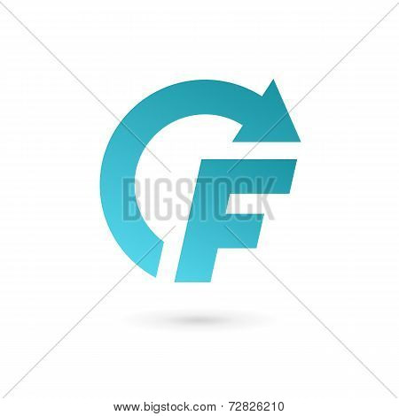 Letter F arrow logo icon design template elements. Vector color sign.
