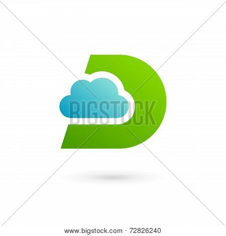 Letter D cloud logo icon design template elements. Vector color sign.