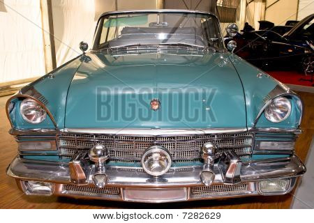 Moscow, Russia - August 27: Green Old Russian Cabriolet Zil At Moscow International Exhibition Inter