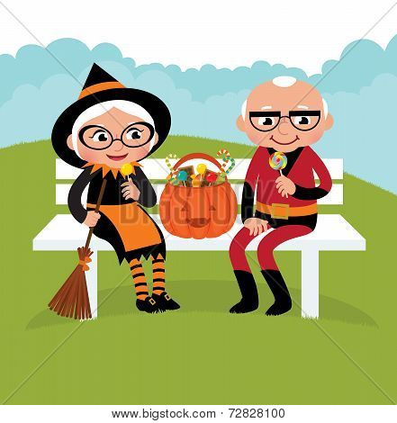 Elderly Couple Celebrating Halloween