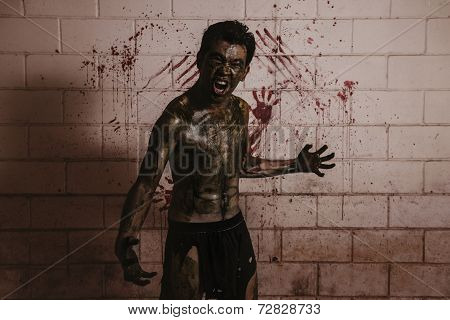Ugly Zombie man in haunted house