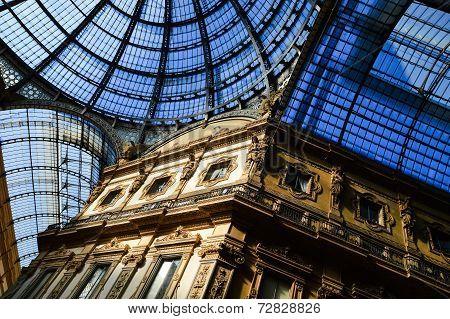 Galleria Vittorio Emanuele Ii In Central Of Milan, Italy