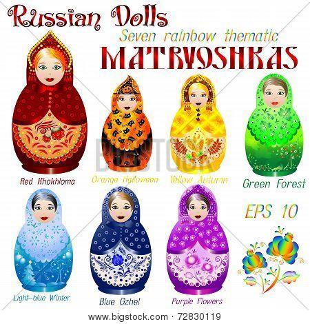 Russian Dolls. Seven Rainbow Thematic Matryoshkas