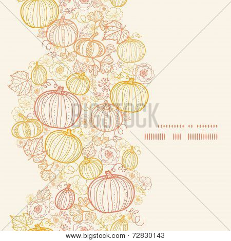 Vector thanksgiving line art pumkins vertical frame seamless pattern background