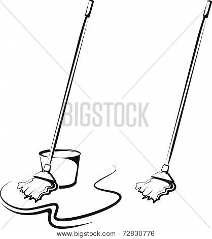 Simple vector illustration of a mop and pail