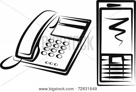 Illustration with a  telephone and modern mobile phone
