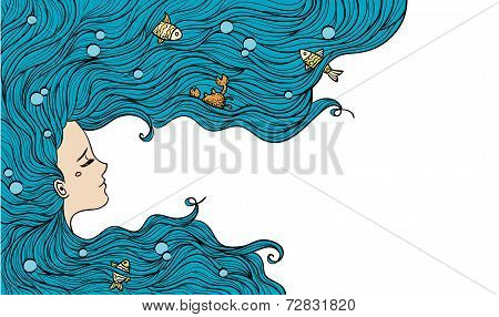 Girl with blue hair. Vector illustration.