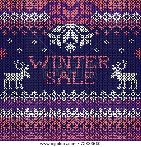 Winter sale: Scandinavian style seamless knitted pattern with de