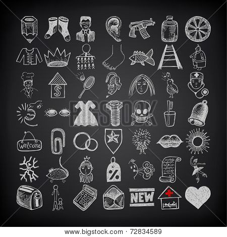 49 hand drawing doodle icon set on black background
