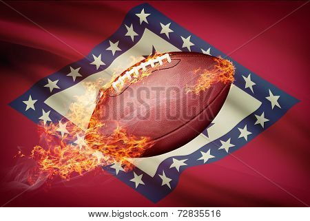 American Football Ball With Flag On Backround Series - Arkansas