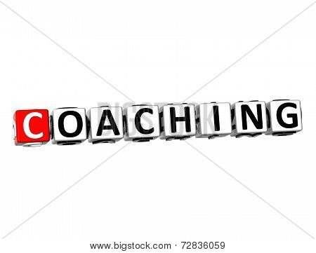 3D Word Coaching On White Background