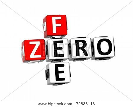 3D Crossword Zero Fee On White Background