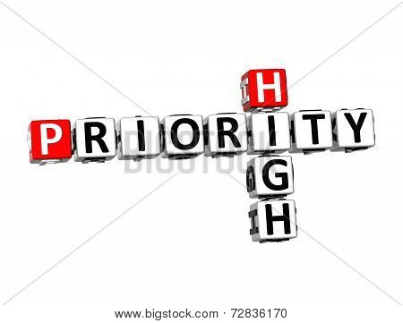 3D Crossword Priority High On White Background