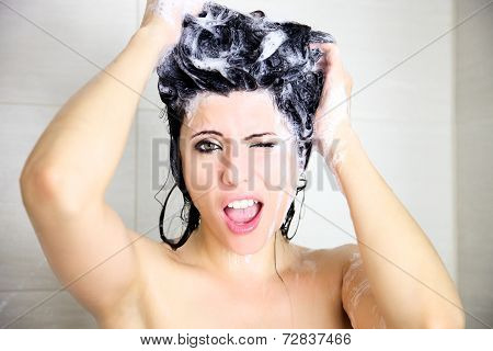 Funny Woman Washing Hair With Soap In Eyes