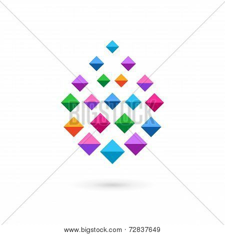 Water drop mosaic crystal logo icon design template elements
