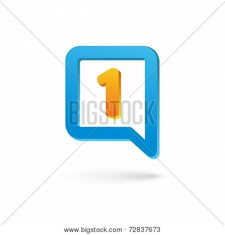 Number one 1 speech bubble logo icon design template elements. Vector color sign.