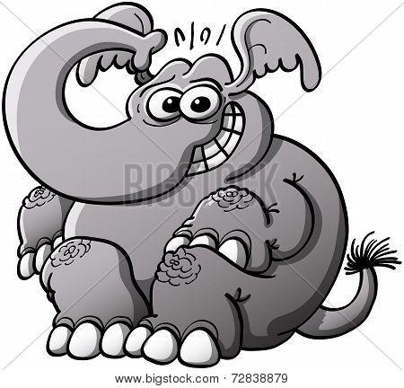 Shy elephant grinning