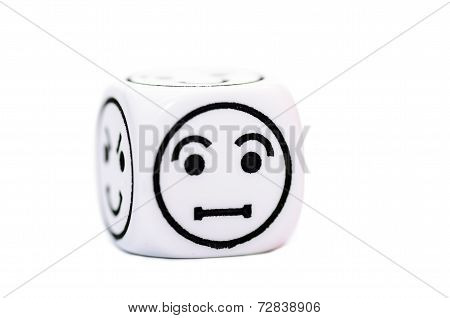 Single Emoticon Dice With Confused Expression Sketch