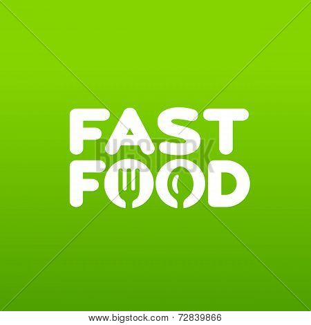 Fastfood word sign logo icon design template elements with spoon and fork. Vector color emblem.