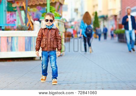 Stylish Happy Boy Walking The Crowded Street