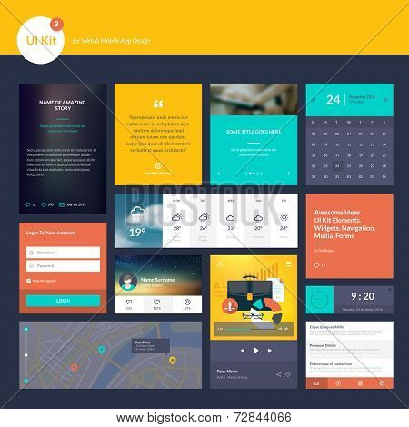 Set of flat design elements for website and mobile app design development