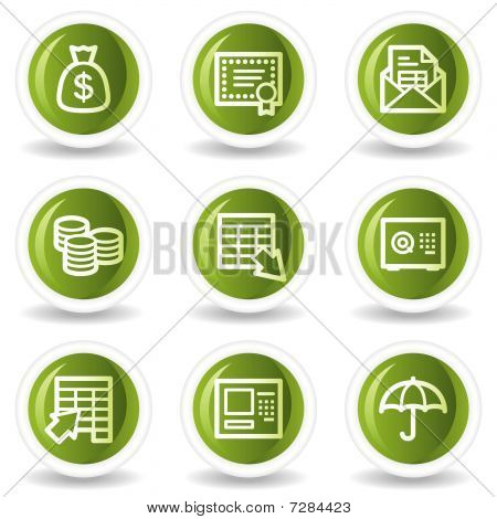 Banking web icons, green circle buttons