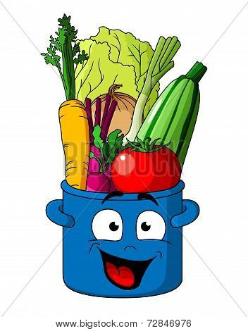 Healthy fresh vegetables in blue pot