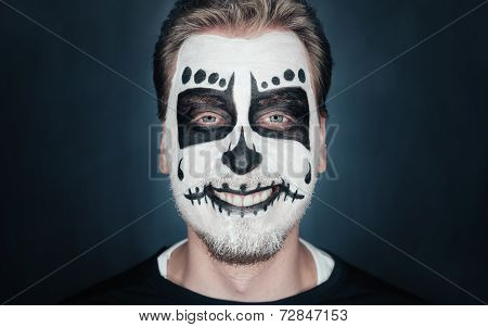 Smiling Man With Sugar Skull Makeup