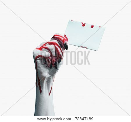 Vampire Bloody Hand With Empty Card