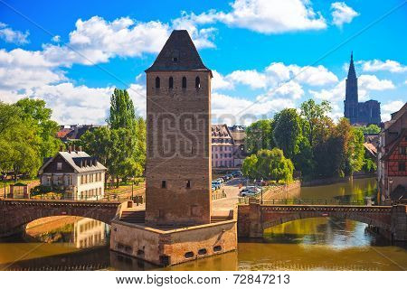 Strasbourg, Medieval Bridge Ponts Couverts And Cathedral. Alsace, France.