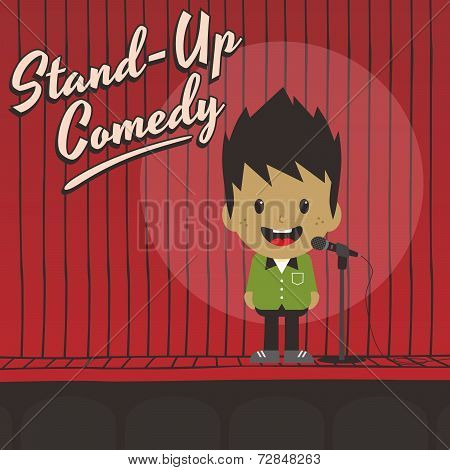 male stand up comedian cartoon