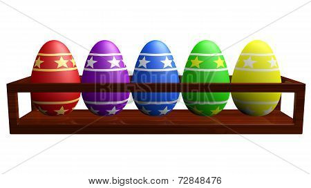 Colorful Easter Eggs In A Wooden Rack