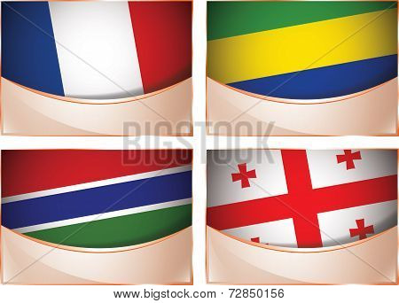 Flags illustration, France, Gabon, Gambia, Georgia