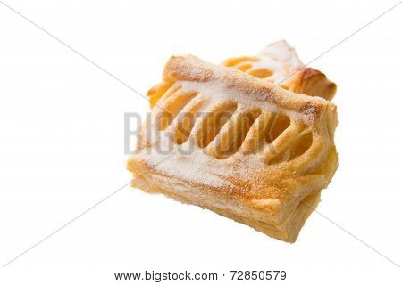 Apple Puff  Pastry And Filling Insied On White