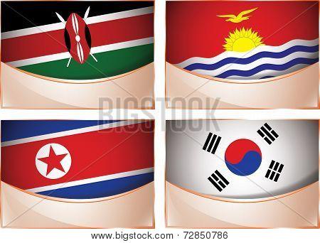 Flags illustration, Kenya, Kiribati, North Korea, South Kore