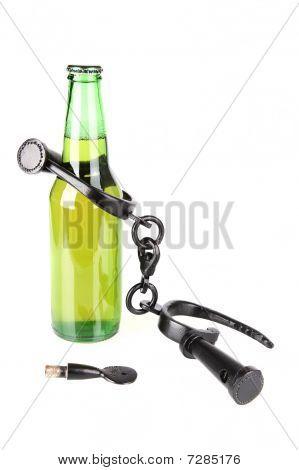Beer bottle in shackles