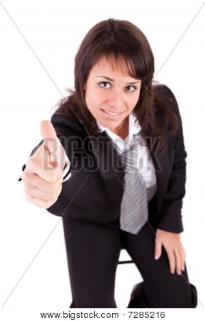 Business Woman Showing Thumb Up