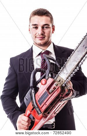 Businessman With Chain Saw