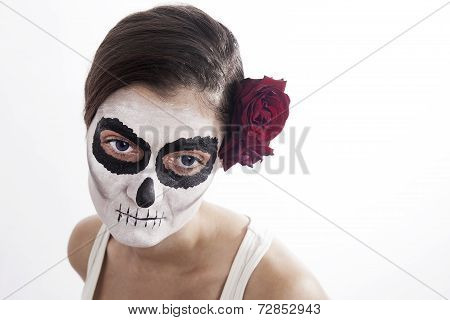 Woman With Makeup Of La Santa Muerte With Red Rose