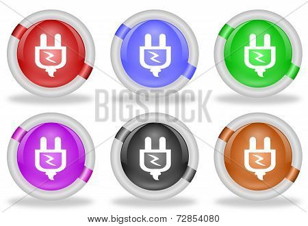 Electric Power Plug Web Icon Button